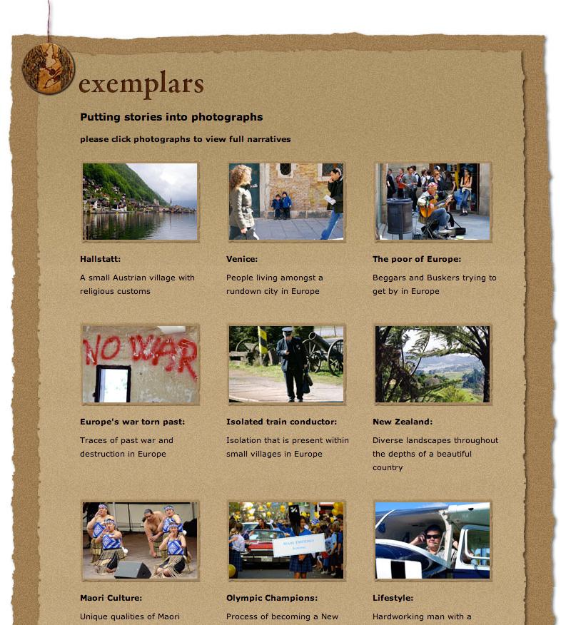 Exemplars Landing Page