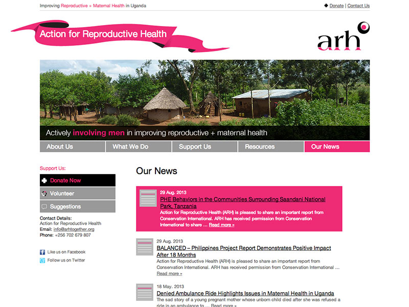 Action for Reproductive Health News section