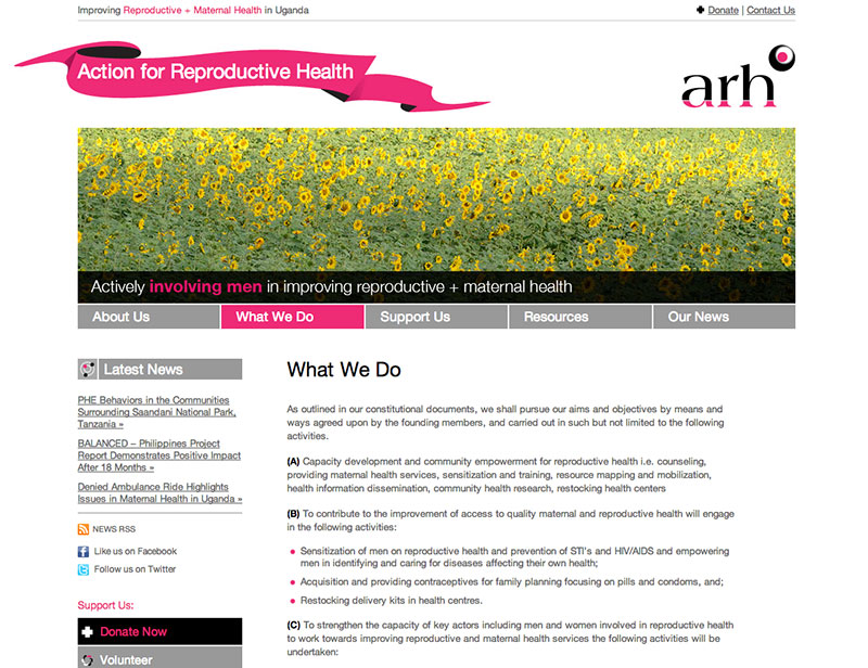 Action for Reproductive Health What We Do page