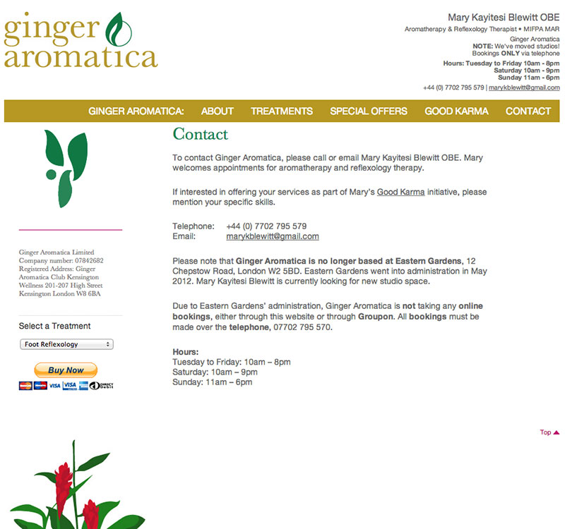Ginger Aromatica Contact section