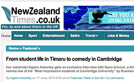 From student life in Timaru to Comedy in Cambridge - Article for New Zealand Times