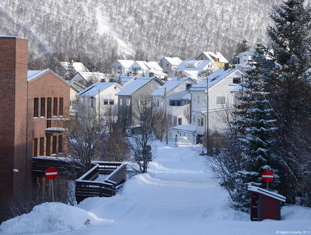 Snow in Tromso, Norway.